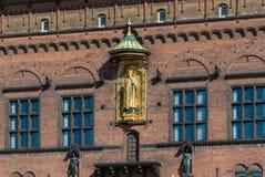 Деталь здание муниципалитета Копенгагена, Дании стоковое изображение