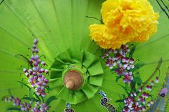 Деталь зонтика ремесла с дизайном картины Стоковая Фотография RF