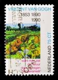 Деталь картины \ «зеленого виноградника \» Винсентом ван Гогом, Стоковые Изображения