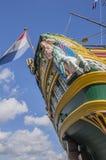 Деталь корабля VOC Doen на Scheepvaartmuseum Амстердаме Нидерланды Стоковое фото RF