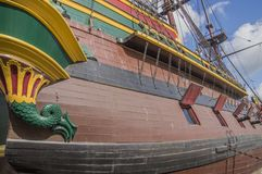 Деталь корабля VOC Doen на Scheepvaartmuseum Амстердаме Нидерланды Стоковое Фото