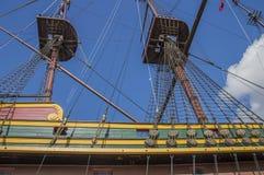 Деталь корабля VOC Doen на Scheepvaartmuseum Амстердаме Нидерланды Стоковая Фотография RF