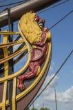 Деталь корабля VOC Doen на Scheepvaartmuseum Амстердаме Нидерланды Стоковые Изображения