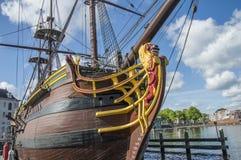 Деталь корабля VOC Doen на Scheepvaartmuseum Амстердаме Нидерланды Стоковая Фотография
