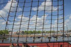 Деталь корабля VOC Doen на Scheepvaartmuseum Амстердаме Нидерланды Стоковое Изображение RF