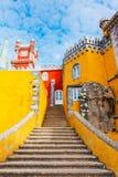Деталь лестницы на дворце Pena, Португалии Стоковая Фотография