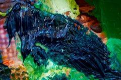 Деталь палитры художника, тоны цвета смешанной совместно и светлое графическое влияние Стоковое Изображение