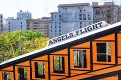 Деталь поезда полета ангелов железнодорожного с городским пейзажем, Лос-Анджелесом, Калифорнией стоковое изображение