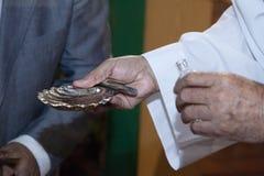 Деталь правой руки серебряной раковины стоковые фото