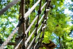 Деталь препятствия сетки в зеленой спортивной площадке приключения леса Стоковое Фото