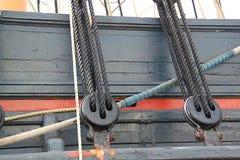 Деталь рангоута корабля Детальное такелажирование с ветрилами Стоковые Изображения