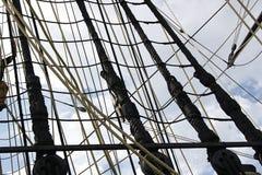 Деталь рангоута корабля Детальное такелажирование с ветрилами Стоковое Изображение