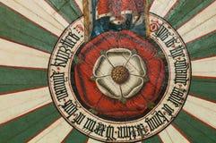 Деталь розы на короле Артур круглый стол в Винчестер, Великобритании стоковая фотография