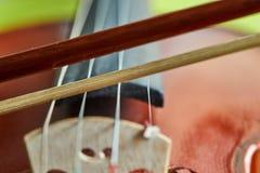 Деталь скрипки Выборочный фокус с малой глубиной стоковые изображения rf