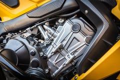 Деталь современного двигателя мотоцикла Стоковое Изображение