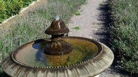Деталь старого классического фонтана стиля с текущей водой сток-видео
