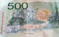 Деталь 500 счетов песо Аргентины Стоковое фото RF