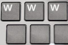 Деталь черных ключей компьтер-книжки, WWW. Стоковое Изображение