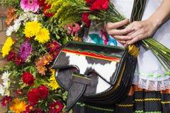 Деталь Carriel, парад Silleteros, цветет справедливо, Medellin, Antioquia, Колумбия Стоковые Изображения RF