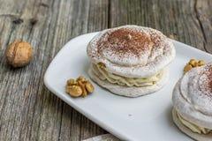 Детализируйте на меренге грецких орехов с какао Стоковые Изображения