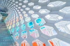 Детализируйте съемку сделанной по образцу стены, архитектурноакустической характеристики, конца-вверх стоковая фотография rf