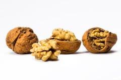 Детали грецкого ореха на белой предпосылке Стоковые Фотографии RF