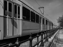 Детали железных дорог трамвая архитектурноакустические в Будапеште Стоковые Фото