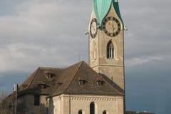 Детали известной башни церков Fraumunster Цюриха Стоковое Изображение
