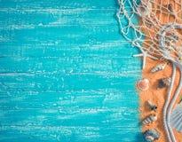 Детали и рыболовная сеть природы моря на сини Стоковые Фотографии RF