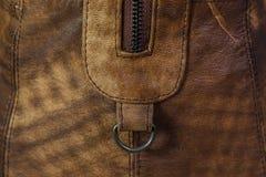 Детали кожаной сумки застежка -молния Стоковая Фотография