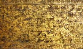 Детали на старой античной тайской деревянной мебели Стоковая Фотография