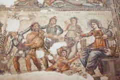 Римская мозаика в Paphos, Кипр Стоковое Фото