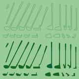 Детали спорта гольфа линейные и комплект силуэта бесплатная иллюстрация