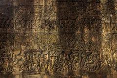 Детали стены на Angkow Wat, Камбодже стоковые фотографии rf