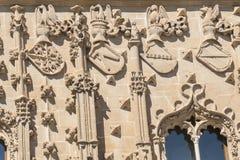 Детали фасада дворца Jabalquinto, Baeza, Испания Стоковое Фото