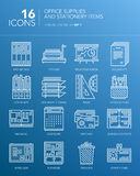 Детальная белая тонкая линия значки - канцелярские товары и детали канцелярских принадлежностей Стоковое Изображение