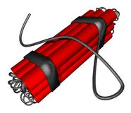 Детальная взрывно бомба динамита в 3D Стоковое фото RF