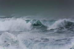 Детальная волна шторма зимы ломая и брызгая на береге Стоковая Фотография RF