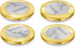 Полный комплект монеток одного евро иллюстрация вектора
