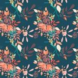 Детальная флористическая пестротканая безшовная картина Стоковое Изображение
