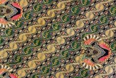 Детальные картины ткани батика Индонезии Стоковая Фотография