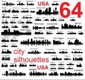 Детальные силуэты вектора городов США Стоковая Фотография