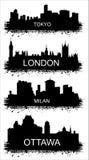 Детальные силуэты городов мира. МИЛАН, ТОКИО, ОТТАВА, ЛОНДОН Стоковые Изображения