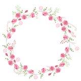 Детальный венок контура при травы, розы и полевые цветки изолированные на белизне Круглая рамка для вашего дизайна иллюстрация штока