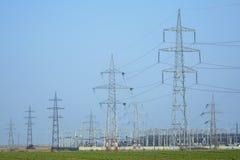 Детальный взгляд электрической станции преобразования Стоковые Изображения