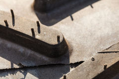 Детальный крупный план поверхности резиновой автошины Стоковое Фото