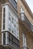 Деталь балконов и больших окон Стоковое Изображение RF
