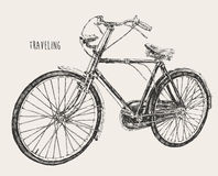 Деталь велосипеда высокая путешествуя год сбора винограда гравировки иллюстрация штока