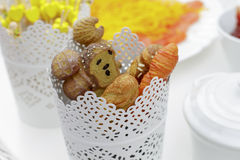 Деталь декоративных вилок и ножей с ручками хлеба сформированными Стоковые Фотографии RF