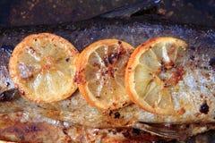 Деталь испеченных salmon рыб стоковые изображения